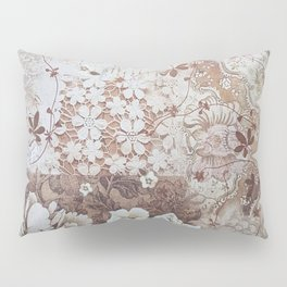 Rustic vintage ivory brown lace floral typography Pillow Sham