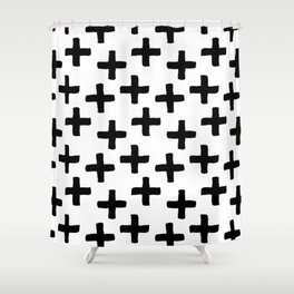 Black and White Ink Cross Pattern Shower Curtain