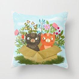 Carton Of Cute Kitties Throw Pillow