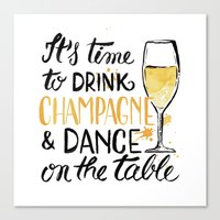 champagne Canvas Prints featuring champagne by desfigure