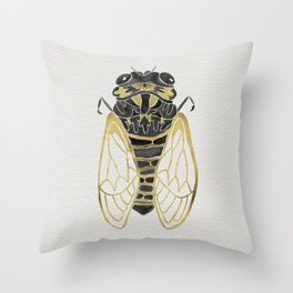 Cicada – Black & Gold Throw Pillow