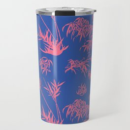 Bamboo Silhouettes in China Blue/Coral Reef Travel Mug