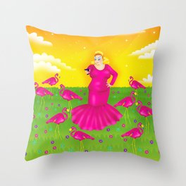 1997 Neon Rainbow Trash Queen Throw Pillow