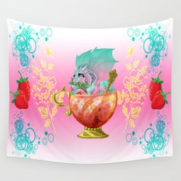 Strawberry Iced Tea Dragon Wall Tapestry