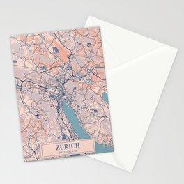 Zurich - Switzerland Breezy City Map Stationery Cards