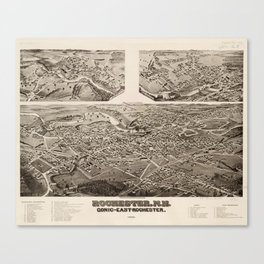 Vintage Pictorial Map of Rochester NH (1884) Canvas Print