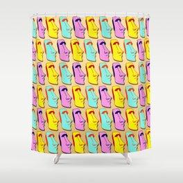 Colored statue Moai Shower Curtain