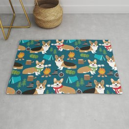 Corgi camping marshmallow roasting corgis outdoors nature dog lovers Rug