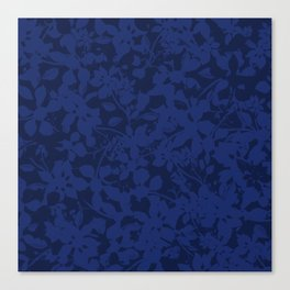 Blue on Blue - Broken but Flourishing Botanical Pattern Canvas Print
