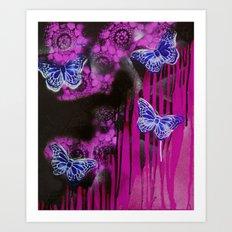 Life flies Magenta Art Print