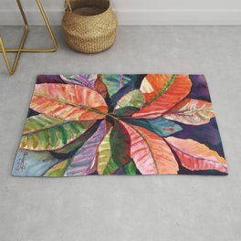 Colorful Tropical Leaves 1 Rug
