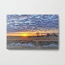 Iowa Farm Sunset Metal Print