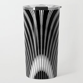 Geometric Black and White Abstract Skeletal Pattern Travel Mug