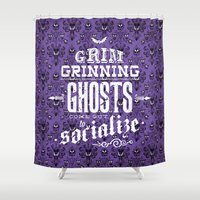 haunted mansion Shower Curtains featuring Haunted Mansion - Grim Grinning Ghosts by tonysimonetta