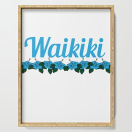 Fresh Hawaiian Style Tshirt Design Waikiki Serving Tray