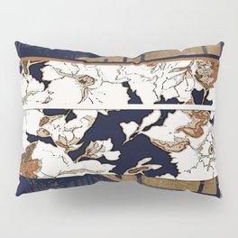 Navy and Gold Herringbone Peony Obi Print Pillow Sham