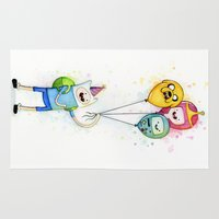finn and jake Area & Throw Rugs featuring Finn with Birthday Balloons Jake Princess Bubblegum BMO by Olechka