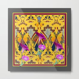 Charcoal Grey & Fuchsia Floral Yellow Butterflies Art Metal Print