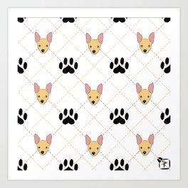 Chihuahua Paw Print Pattern Art Print