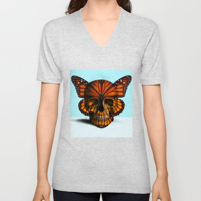 SKULL (MONARCH BUTTERFLY) Unisex V-Neck