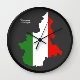 Piemonte map with Italian national flag illustration Wall Clock
