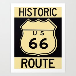 Old historic Route 66 sign with the legend US 66. Art Print