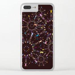 Colorful Boho Mandalas, Trippy Hippie Pattern Clear iPhone Case