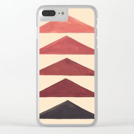 Brown Watercolor Triangle Geometric Pattern Mid Century Modern Minimalist Colorful Painting Clear iPhone Case