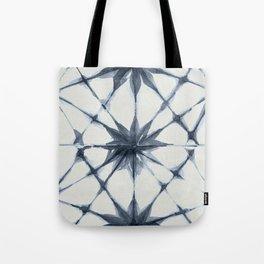 Shibori Starburst Indigo Blue on Lunar Gray Tote Bag