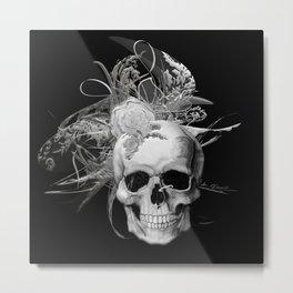 Skull 50 shades of grey black mjvision Mia Niemi Metal Print