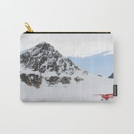 Small Plane Beside a Snow Covered Mountain Carry-All Pouch