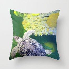 Sea Turtle on Lime Green Throw Pillow