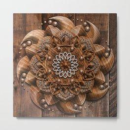 Wooden Mandala Metal Print