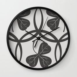 Grey Clover Pattern Wall Clock