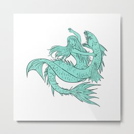 Mermaid Grappling With Sea Serpent Drawing Color Metal Print
