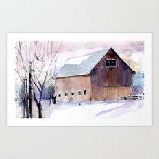 Barn - Purple Art Print