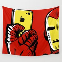 tony stark Wall Tapestries featuring Stark #Selfie by Butcher Billy