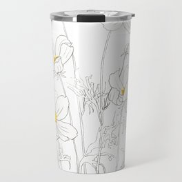 white cosmos flowers  ink and watercolor Travel Mug