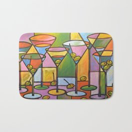 Abstract Art Wine Bar Alcohol Painting ... Martinis and Olives Bath Mat