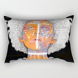 African Queen with white Eyes and awesome Afro Rectangular Pillow