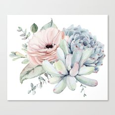 Pretty Pastel Succulents Canvas Print
