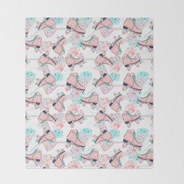 Pink Aqua Roller Skates Throw Blanket