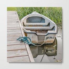 Moored row boat Metal Print