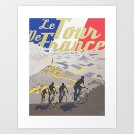 Le Tour de France retro poster Art Print