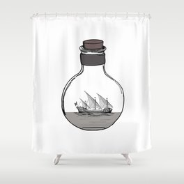 Antique Ship in a Bottle Shower Curtain