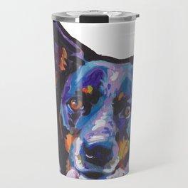 Australian Cattle Dog Portrait blue heeler colorful Pop Art Painting by LEA Travel Mug