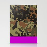 david fleck Stationery Cards featuring Magenta Fleck Tarn Camo by Derek Boman