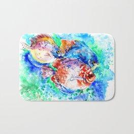 Underwater Scene Artwork, Discus Fish, Turquoise blue pink aquatic design Bath Mat