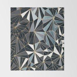 Stylish Art Deco Geometric Pattern - Black, blue, Gold #abstract #pattern Throw Blanket