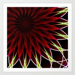 Neon flower mandala Art Print